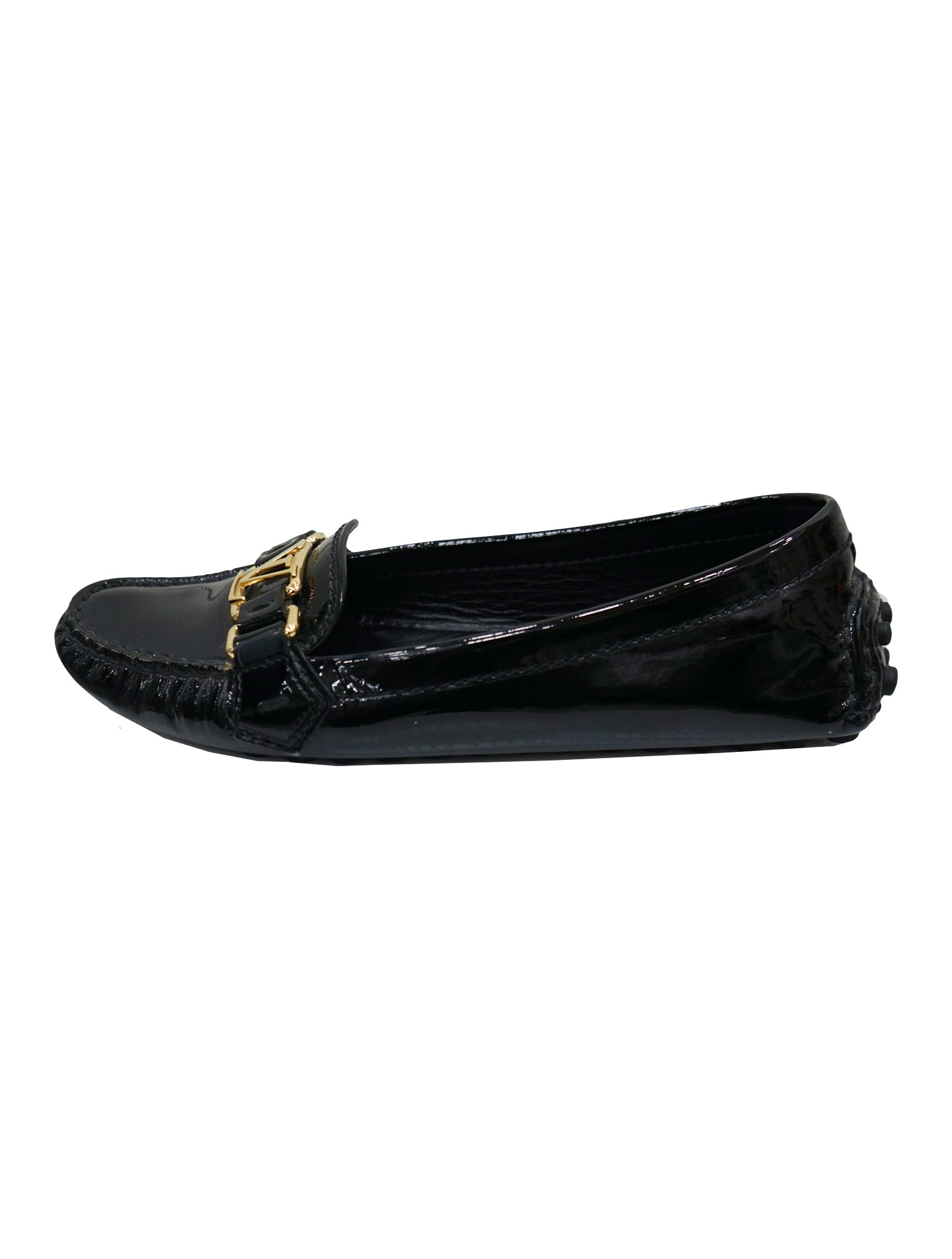 BLACK PATENT LEATHER OXFORD LOAFERS