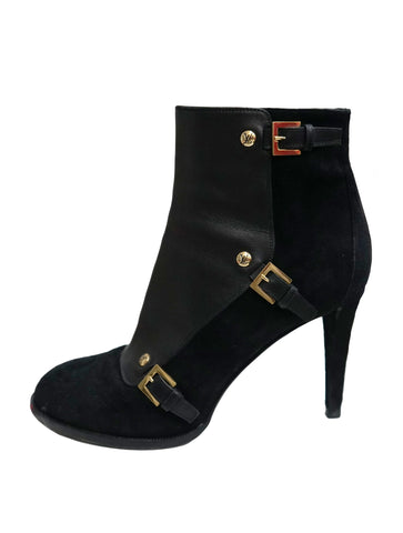 ROUND TOE LEATHER & SUEDE ANKLE BOOTS