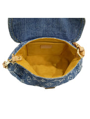 MONOGRAM DENIM PLEATY BLUE MINI BAG