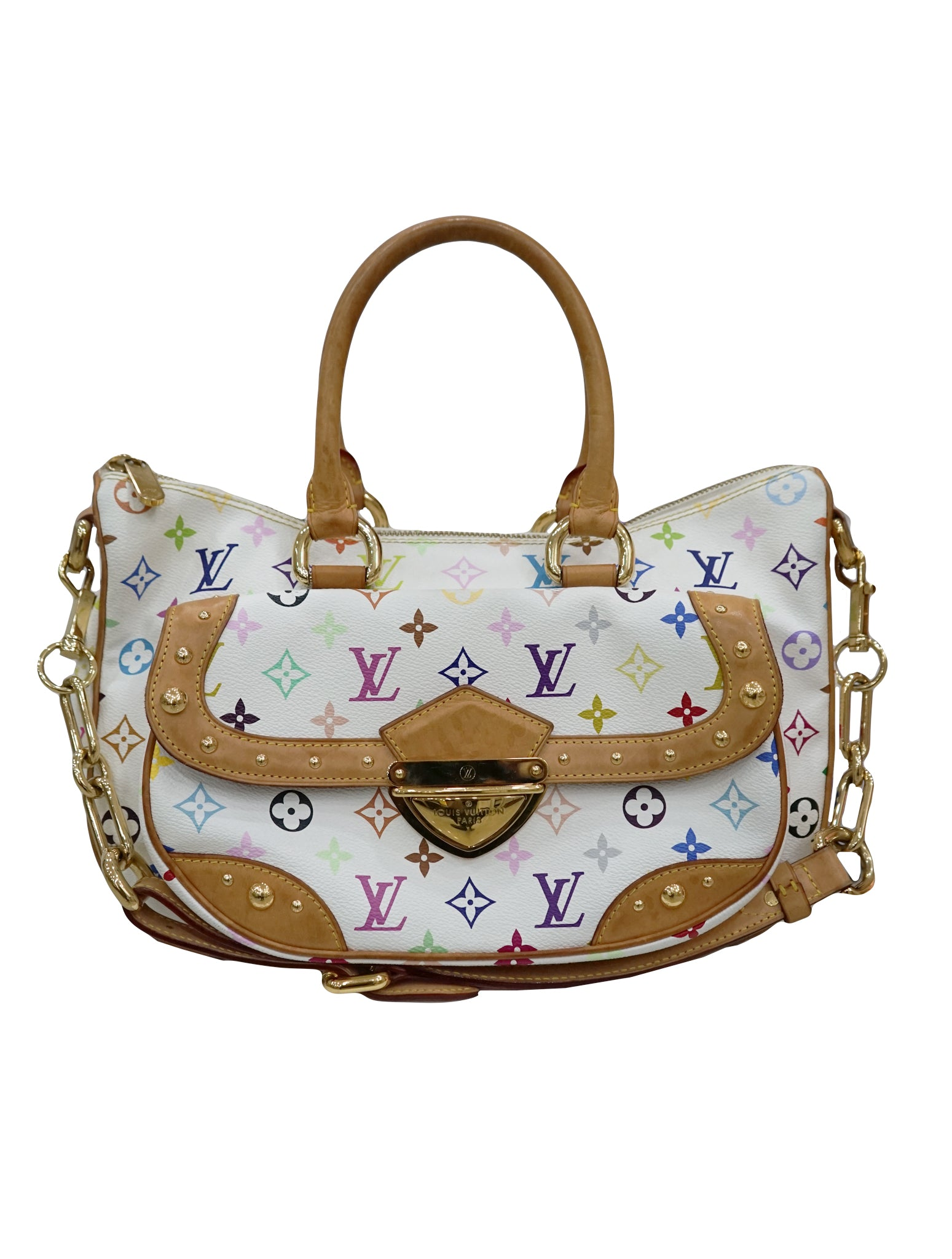 WHITE MULTICOLORED MONOGRAM RITA BAG