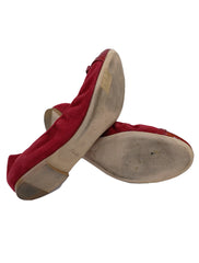 SUEDE AND LEATHER SCRUNCH BALLET FLATS