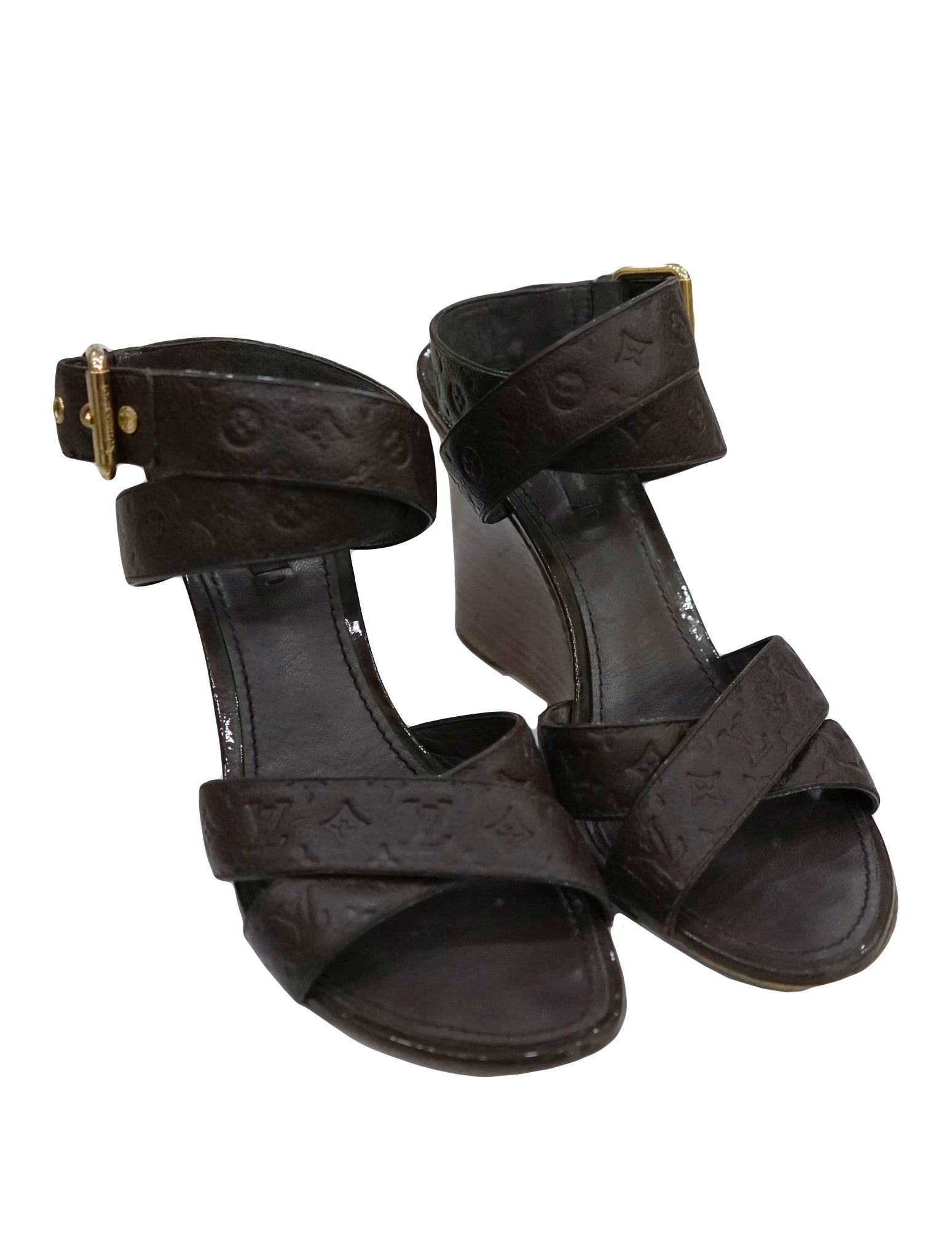 BROWN CROSS STRAP PEEP TOE WEDGE