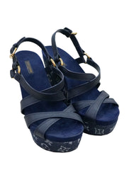DENIM LEATHER OCEAN CRISS CROSS WEDGE