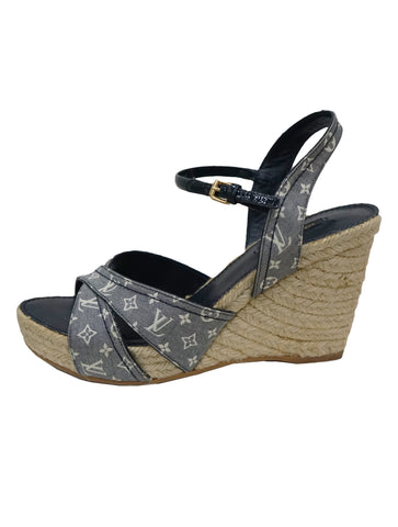 DENIM MONOGRAM AND PATENT ESPADRILLES WEDGES