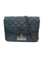 BLUE GRAY QUILTED SHOULDER BAG