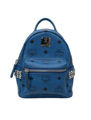 BLUE LEATHER LOGO STUD BACKPACK