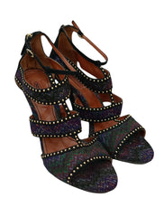 EMBELLISHED PATTERNED KNIT ANKLE STRAP