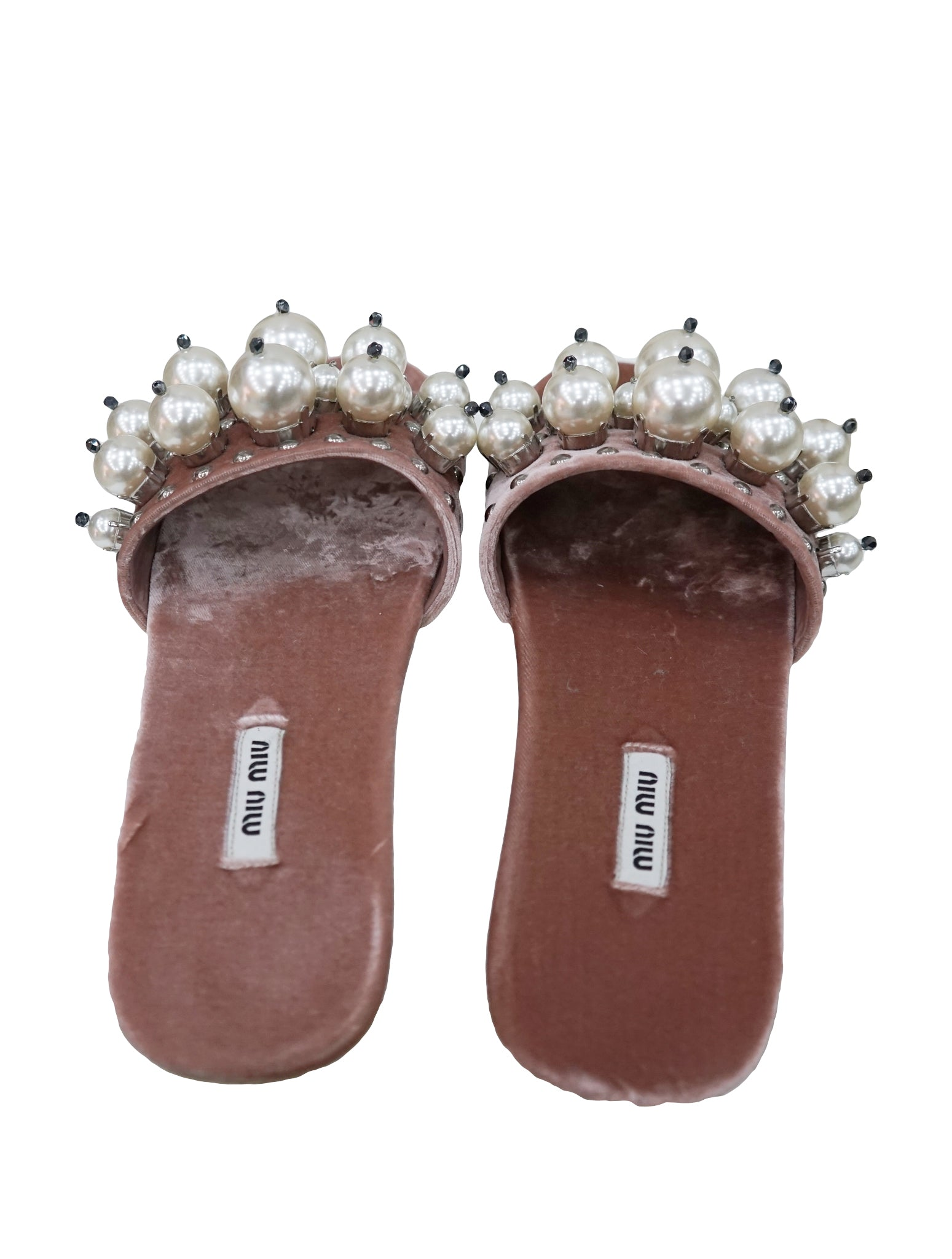 LIGHT PINK EMBELLISHED VELVET SLIDES