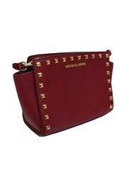 MAROON SAFFIANO LEATHER SATCHEL BAG