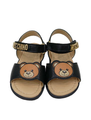 BLACK LEATHER TEDDY SANDALS