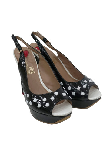 BLACK PATENT HEARTS PUMPS - kidsstyleforless
