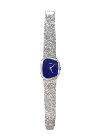 WHITE GOLD BLUE ONYX DIAMOND MESH WATCH