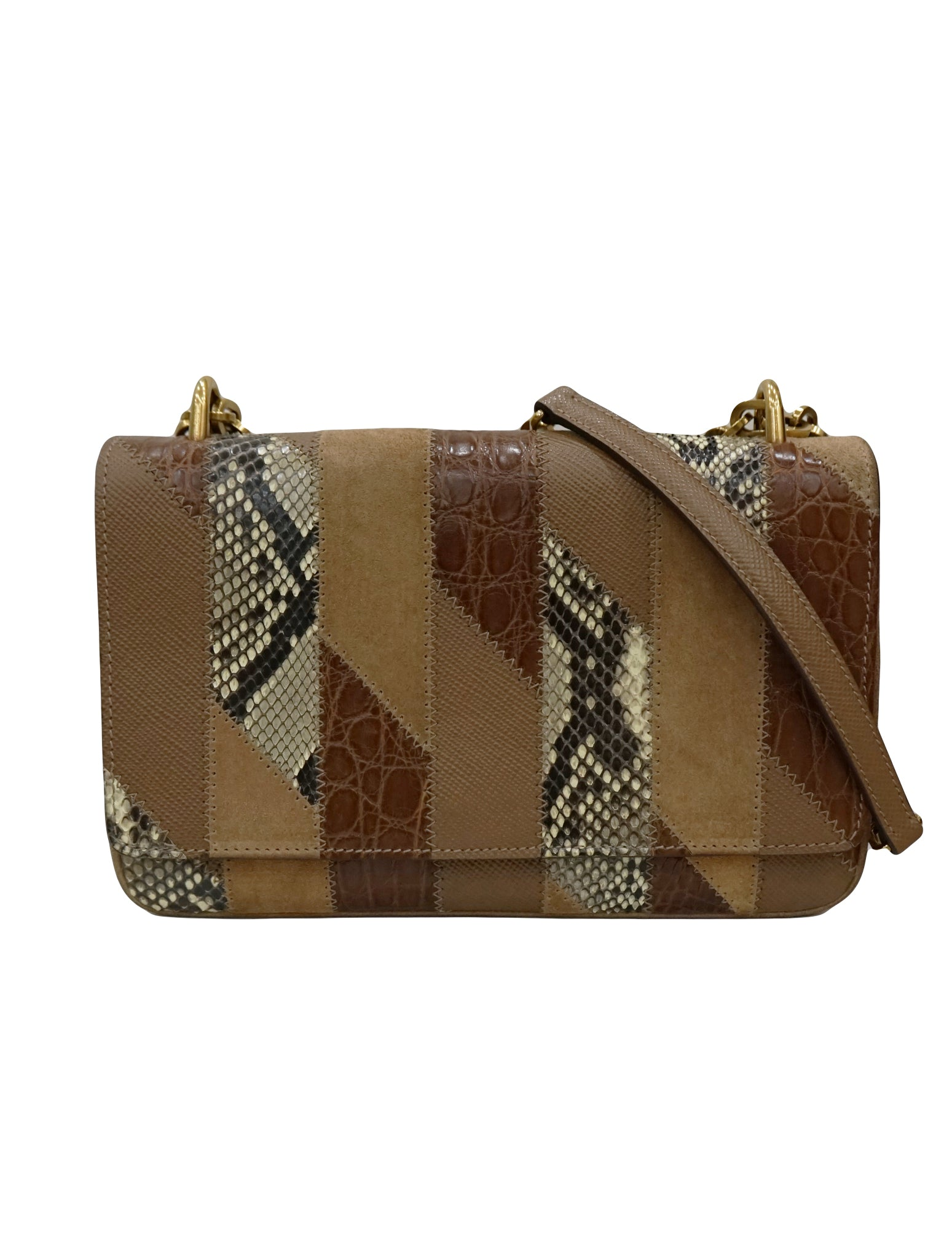 SUEDE SNAKE CROCODILE PATCHWORK BAG