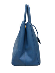 BLUE SAFFIANO LEATHER LARGE TOTE BAG