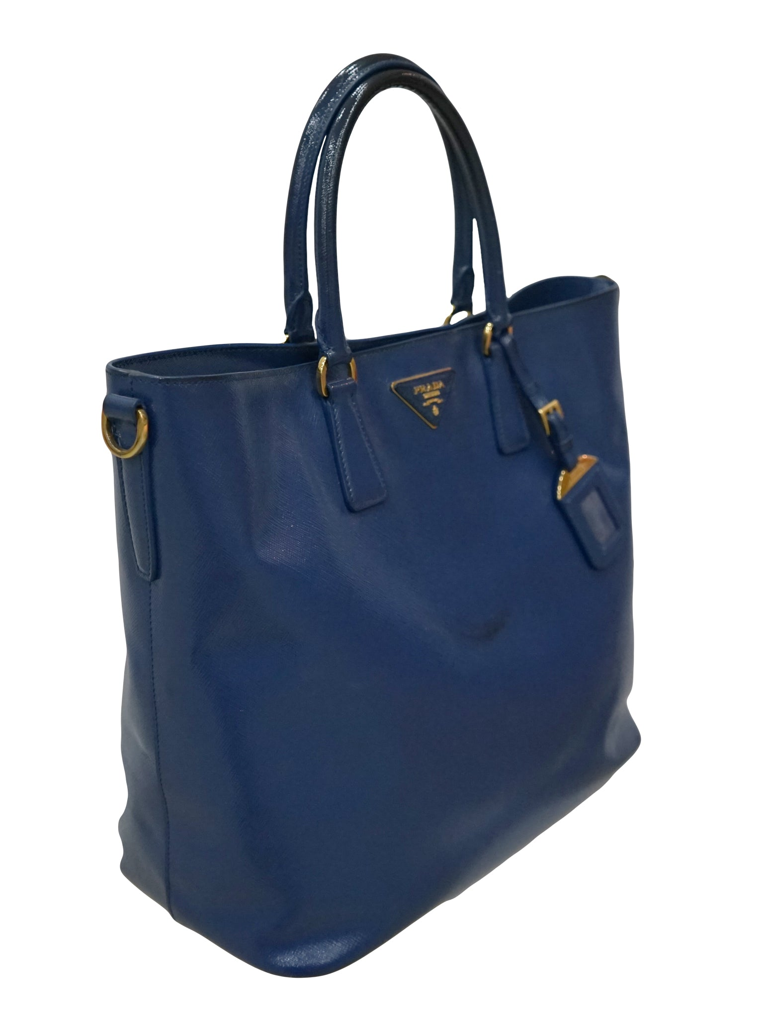 BLUE PATENT SHOPPING TOTE