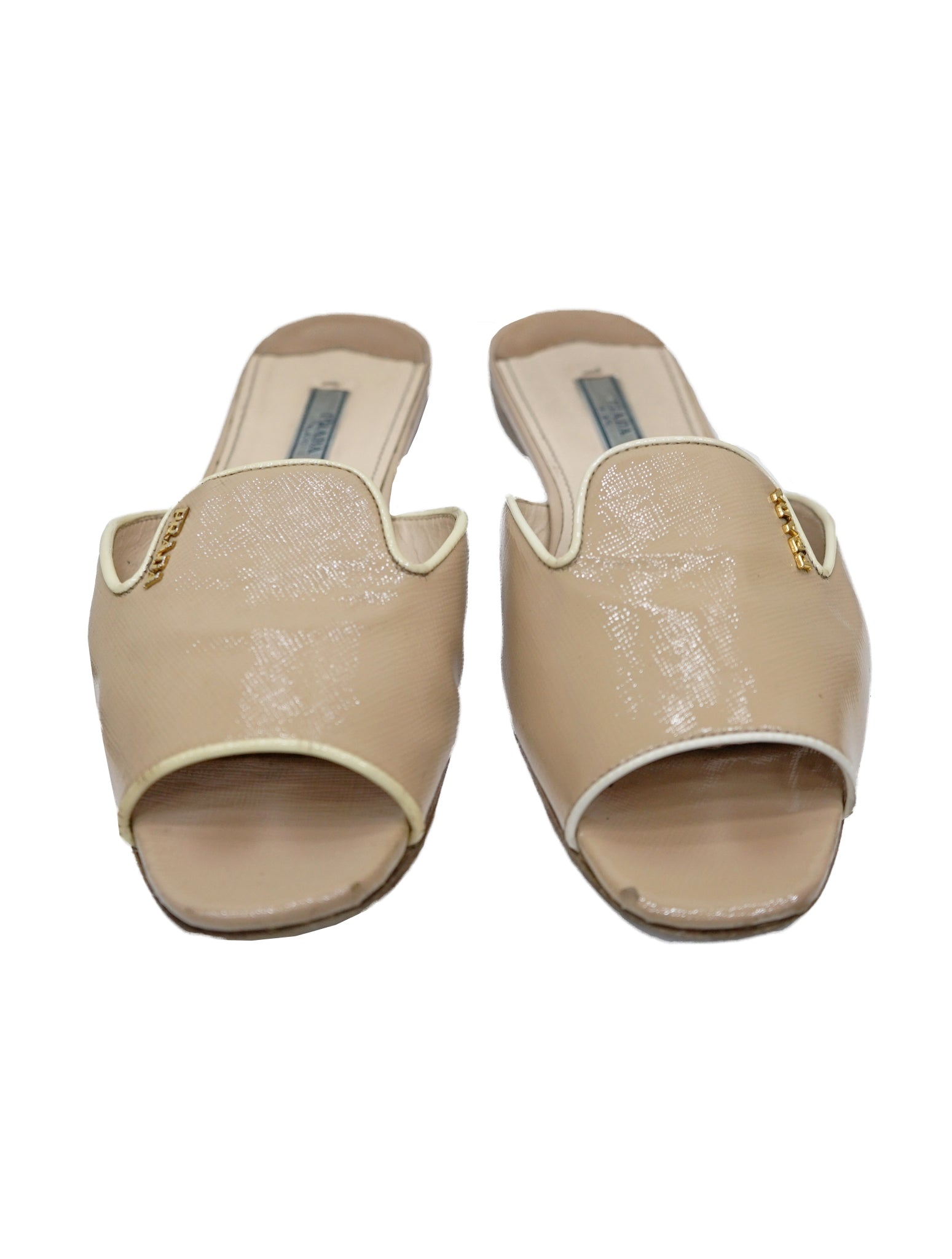 SAFFIANO LEATHER FLAT SLIDE SANDALS
