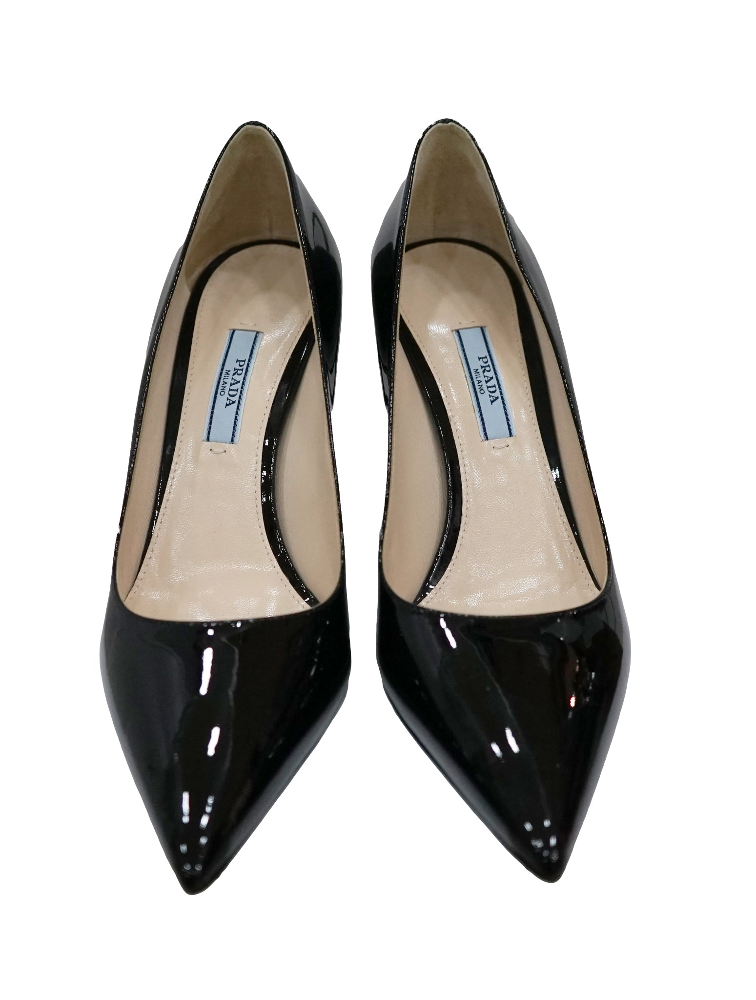 BLACK PATENT POINTED TOE PUMPS