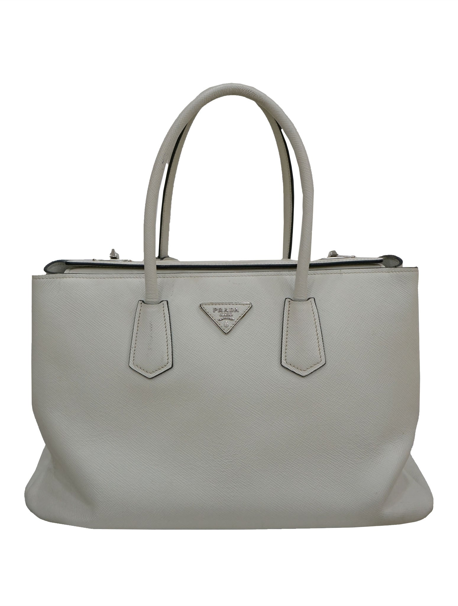 LARGE CITY CALF TURN-LOCK TWIN TOTE BAG
