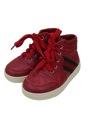 RED LEATHER HIGH TOP WEB SHOES