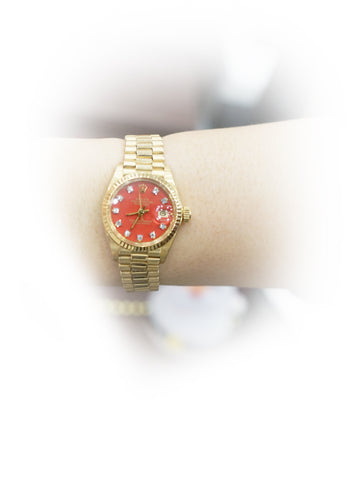 PRESIDENT RED DIAMOND DIAL WATCH