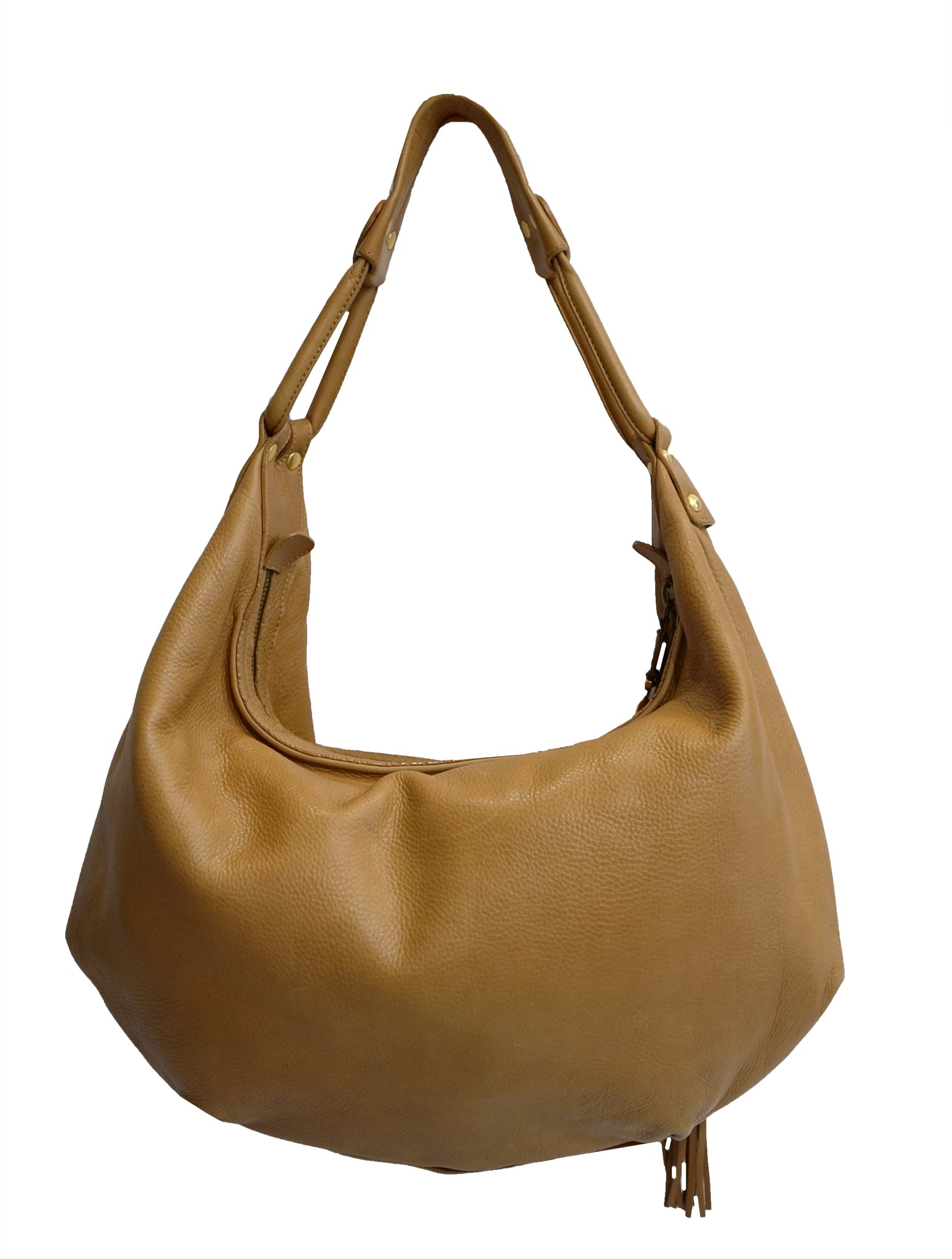 BROWN LEATHER HOBO BAG