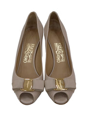 LEATHER VARA BOW PEEP TOE