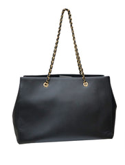 BLACK MELIKE SAFFIANO CHAIN SHOULDER TOTE BAG