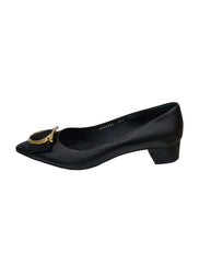 LEATHER ENA GANCINI BOW BLOCK HEEL