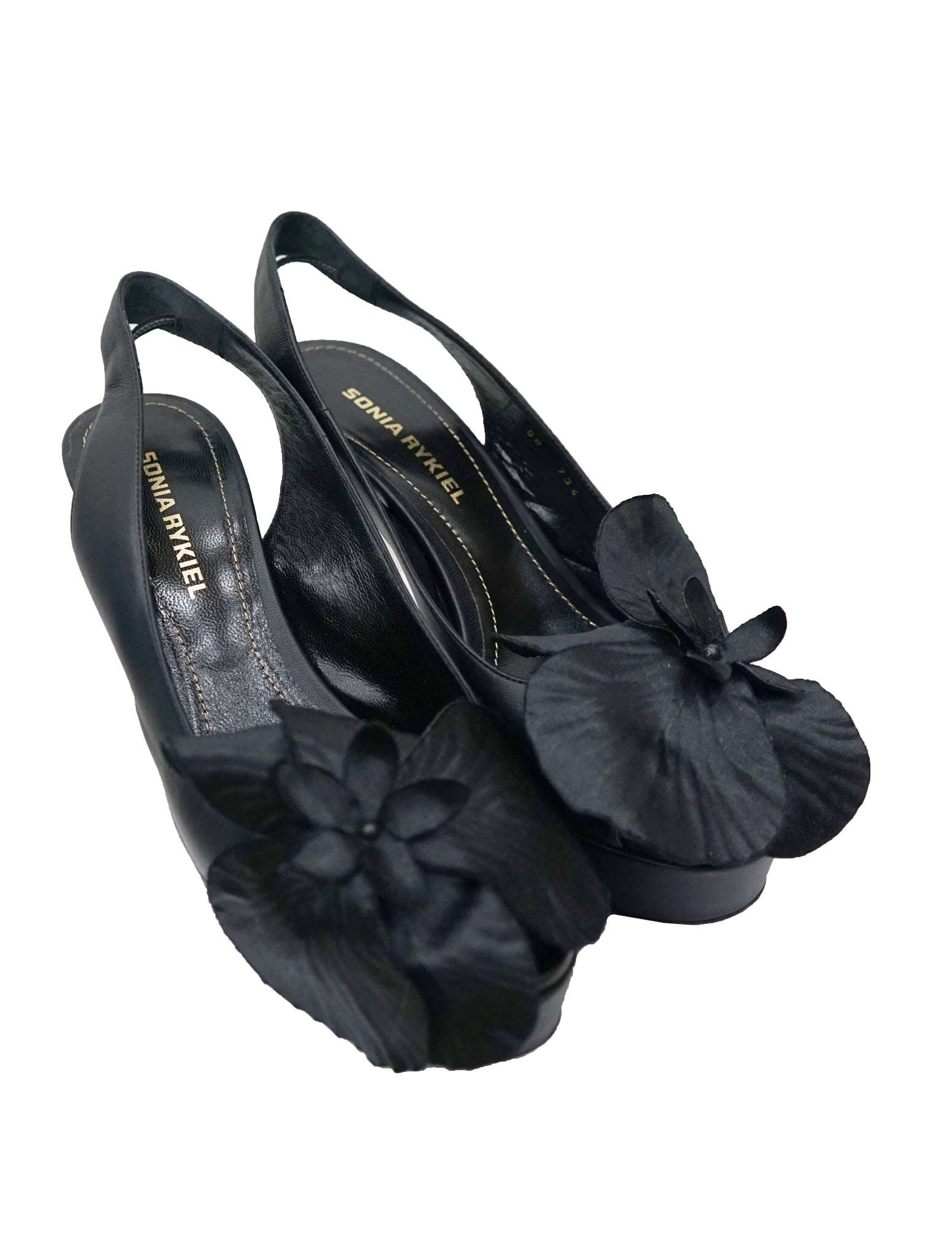 BLACK LEATHER FLOWER DETAIL SANDALS