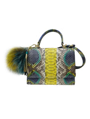 PHYTON LEATHER WITH FUR CHARM BAG