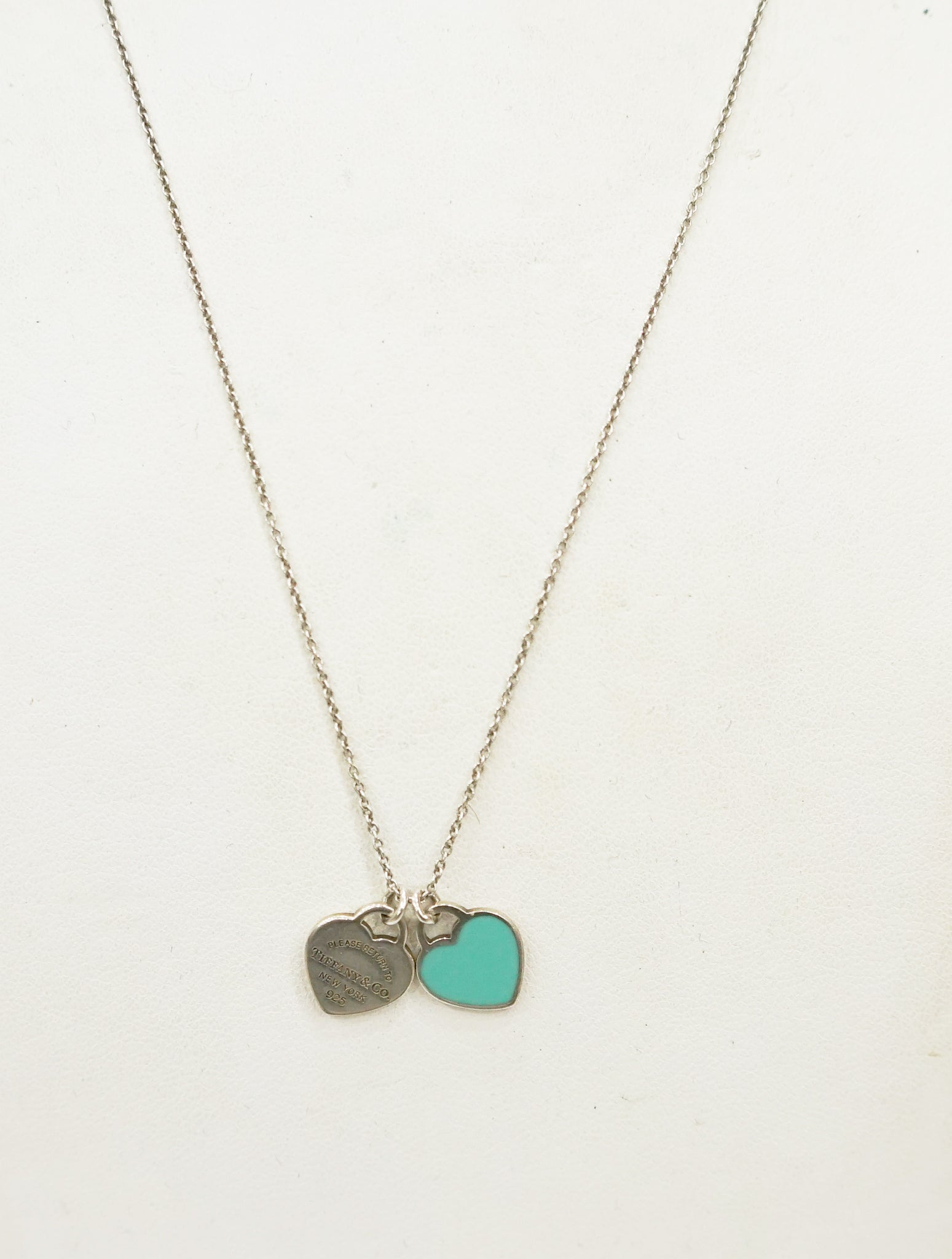DOUBLE HEART TAGS SILVER CHAIN NECKLACE