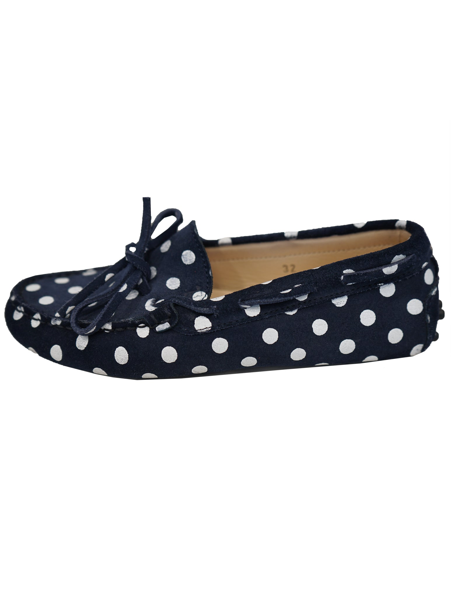 SUEDE POLKA DOT LACEUP DRIVERS