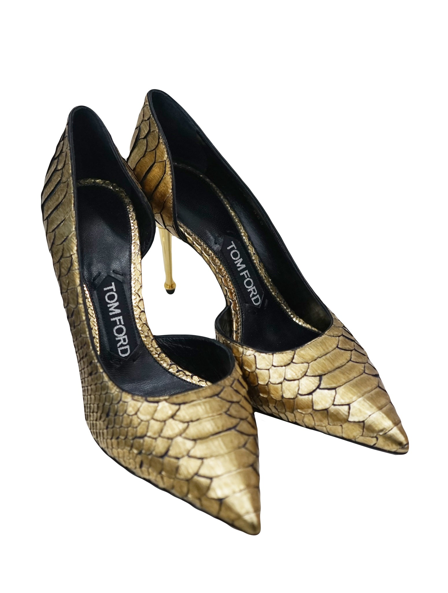 METALLIC GOLD PYTHON POINTED TOE PUMPS