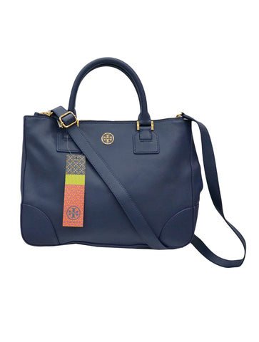 BLUE LEATHER ROBINSON TOP HANDLE BAG