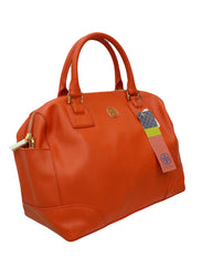 ORANGE LEATHER ROBINSON MIDDY SATCHEL