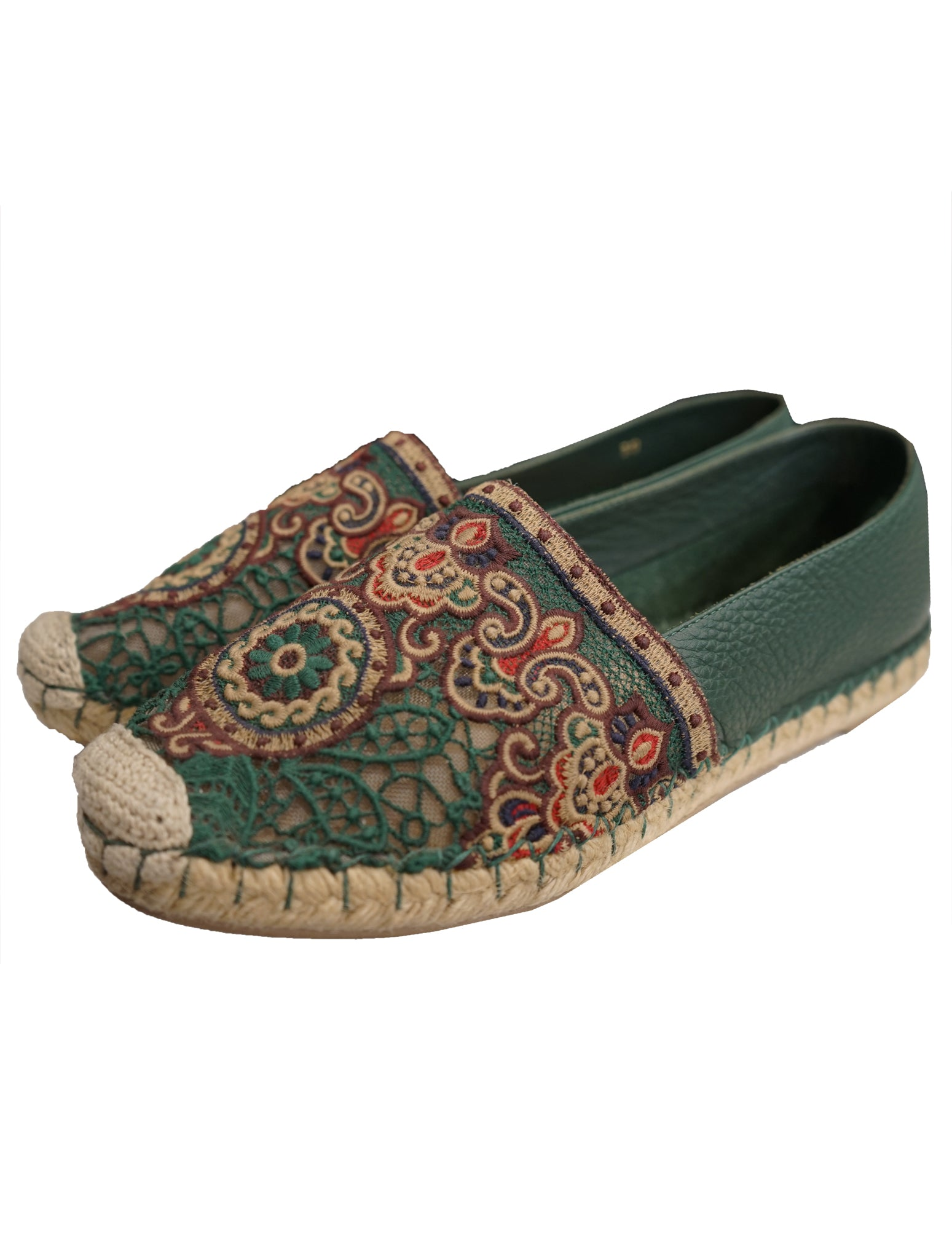 EMBROIDERED LACE ESPADRILLE