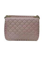 ROCKSTUD SPIKE QUILTED LEATHER SHOULDER BAG