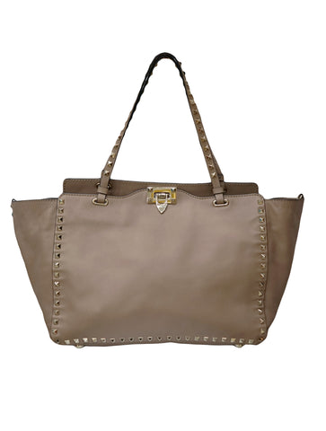 BEIGE  LEATHER ROCKSTUD TOTE BAG