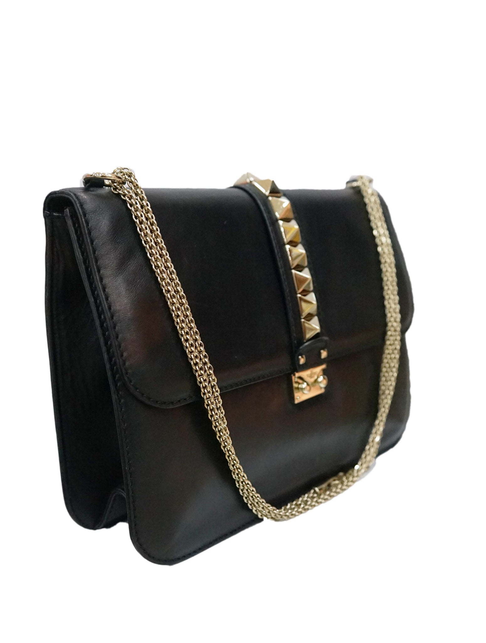GLAM LOCK CHAIN ROCKSTUD SHOULDER BAG