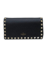 BLACK LEATHER ROCKSTUD CHAIN CLUTCH