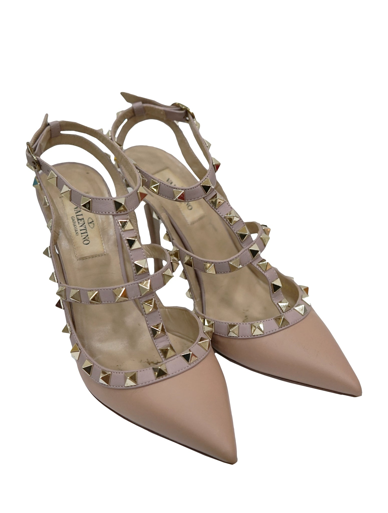 BEIGE PATENT LEATHER ROCKSTUD SANDALS