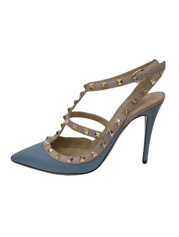 BLUE ROCKSTUD ANKLE STRAP SANDALS