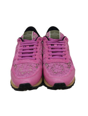 PINK LEATHER & MACRAME LACE SNEAKERS