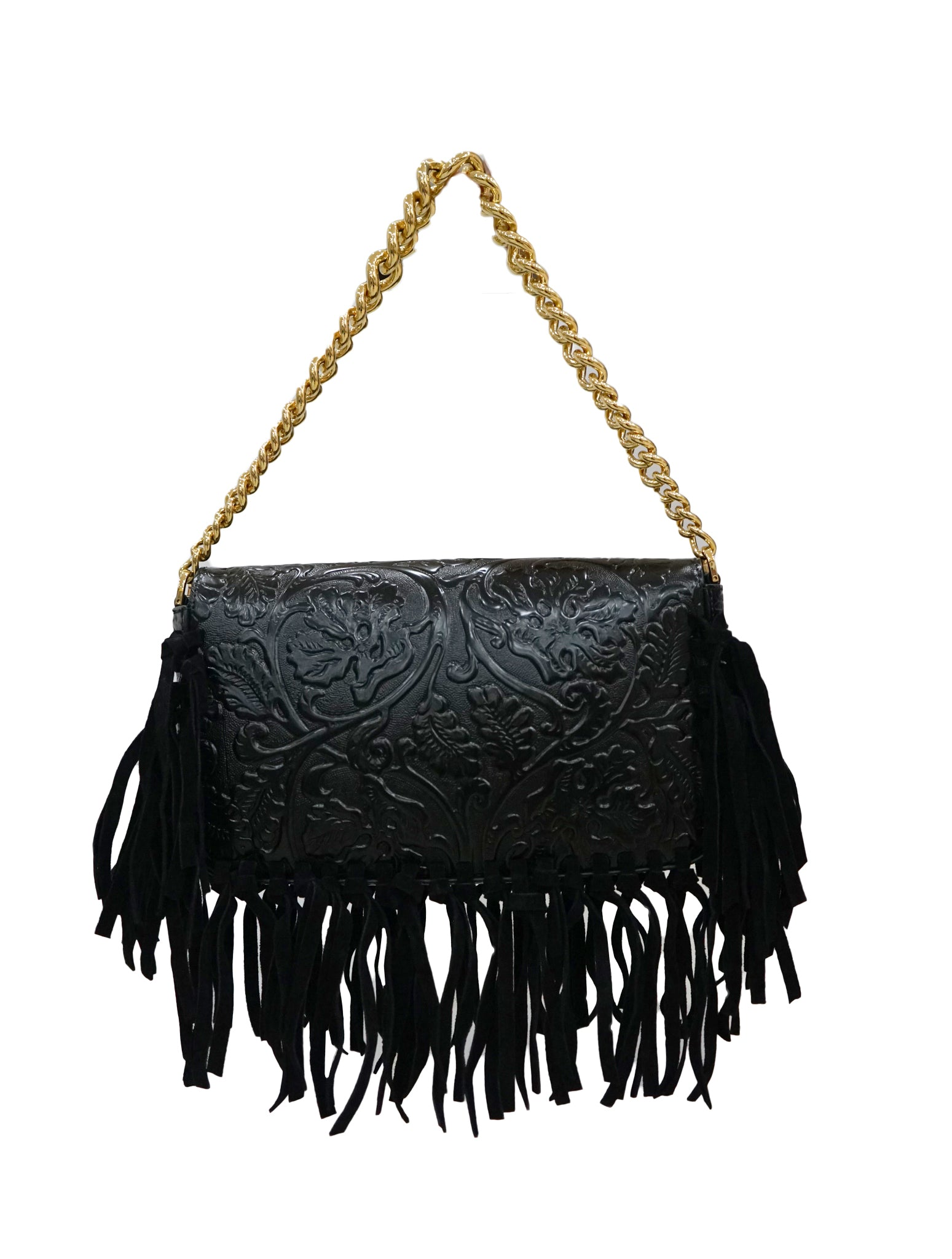 EMBOSSED PRINT FRINGE SHOULDER BAG