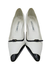 TWO TONE LEATHER POINTED PUMPS