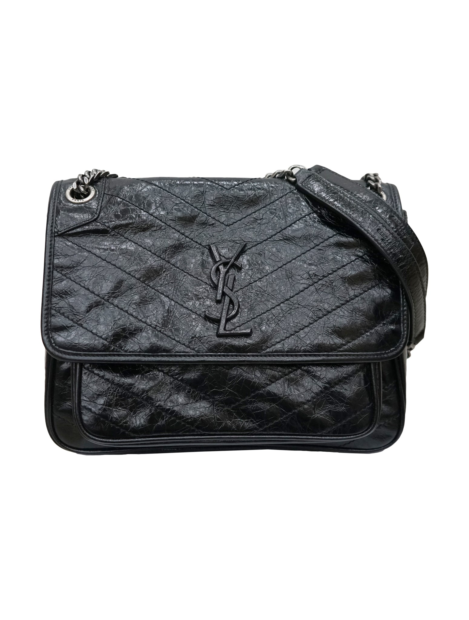 NIKI QUILTED CRINKLED GLOSSED LEATHER BAG