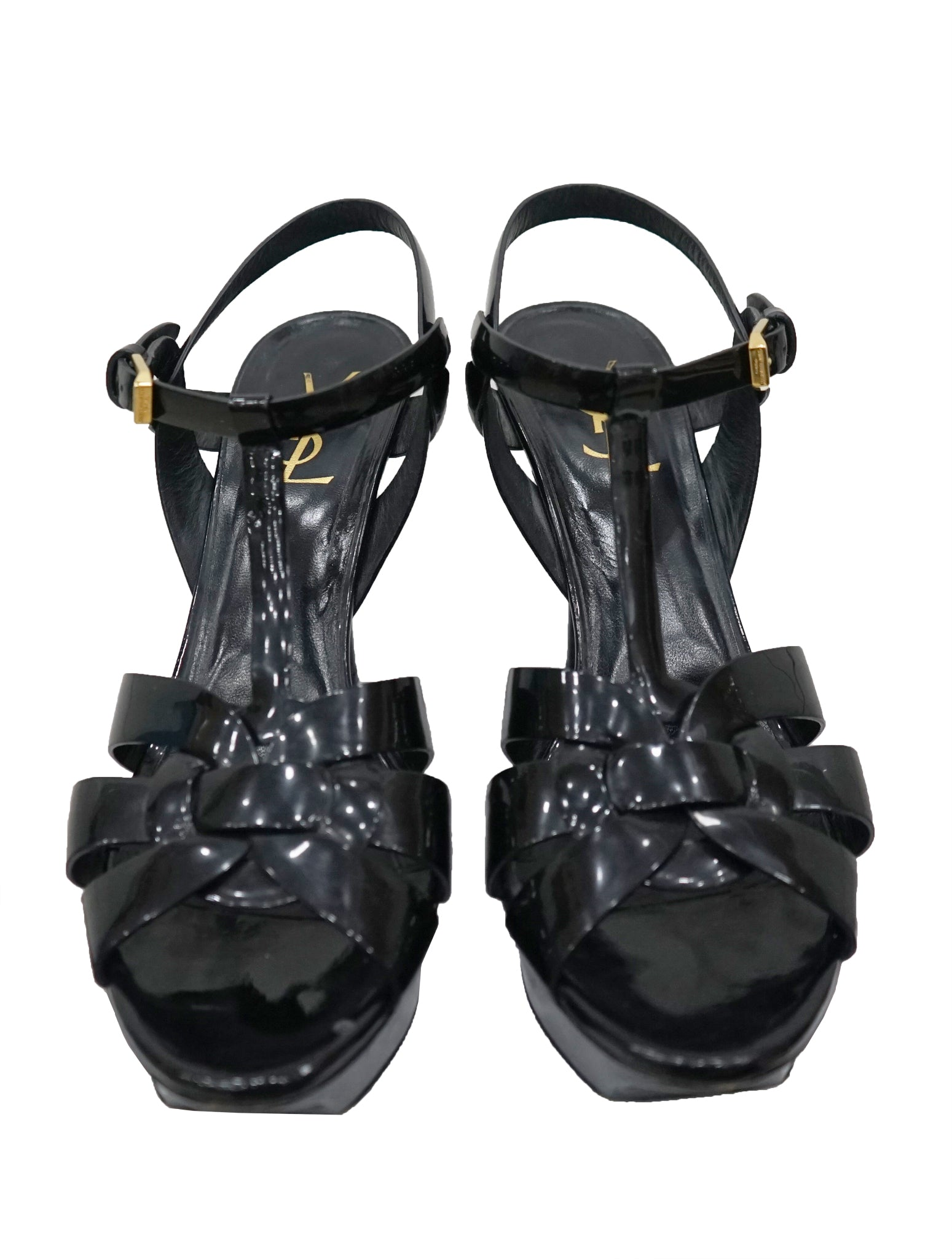 BLACK PATENT LEATHER TRIBUTE SANDALS