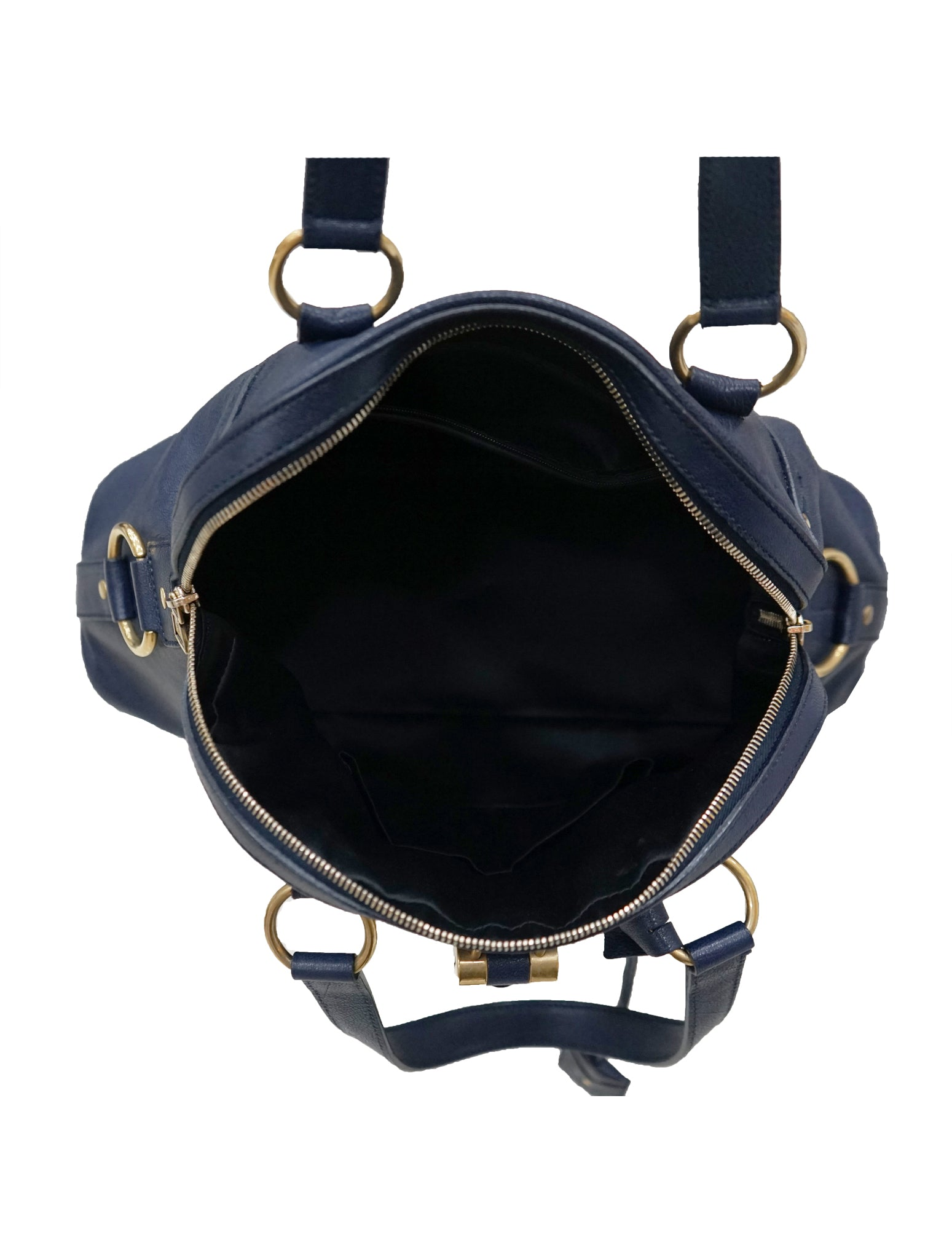 BLUE LEATHER OVERSIZED MUSE BAG