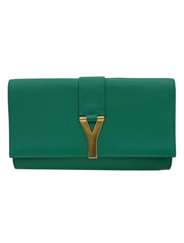 GREEN LEATHER LARGE CHYC CLUTCH