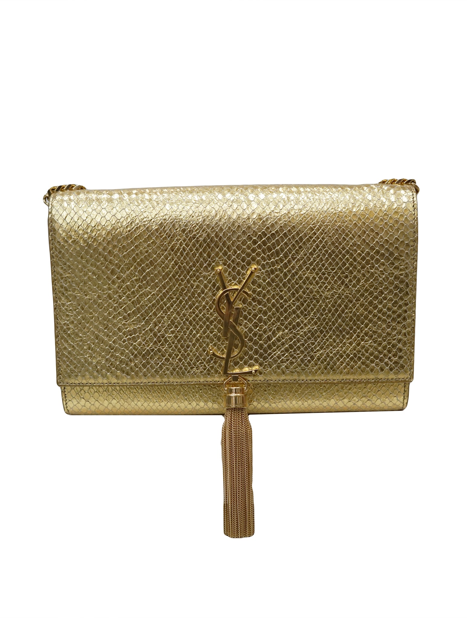 GOLD PYTHON EMBOSSED LEATHER TASSEL BAG